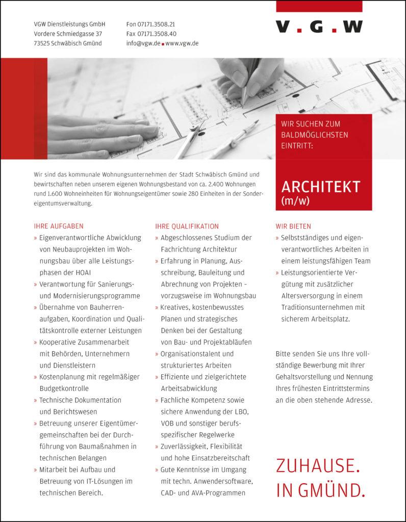Stellenanzeige als Architekt bei der VGW Schwäbisch Gmünd 2018