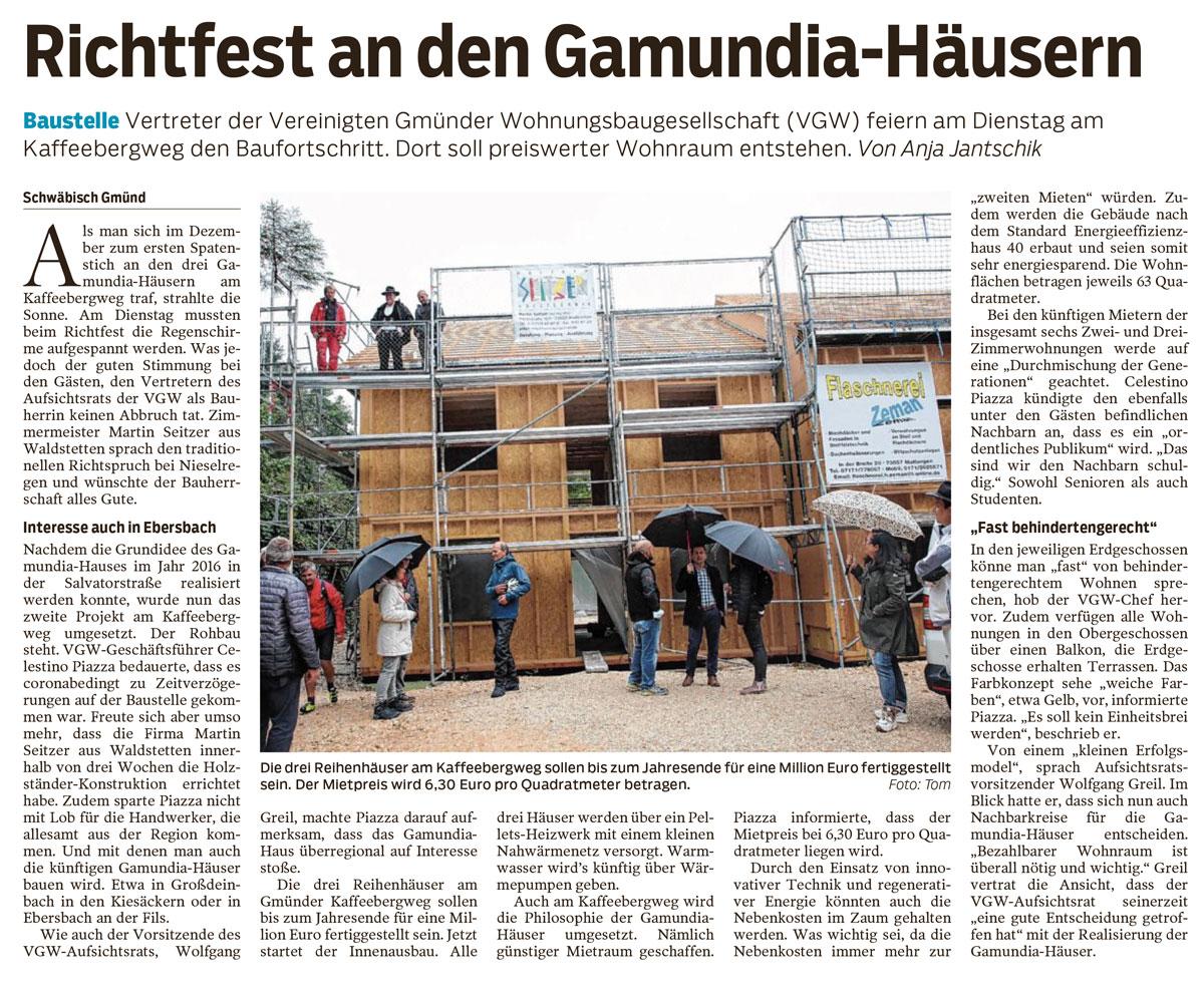 Richtfest Gamundiahäuser